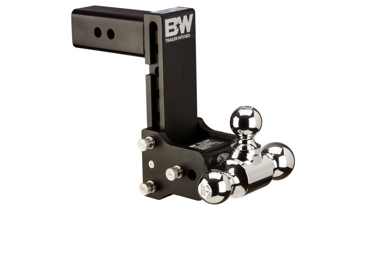 7.5 Rise Plus 5//8 Black Receiver Lock 7 Drop TruckProUSA B/&W TS20049B Tow /& Stow Receiver Hitch Tri-Ball with 2.5 Shank