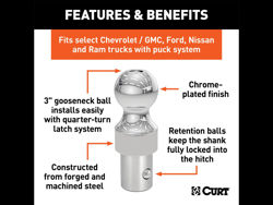 Picture of Curt OEM Style Gooseneck Hitch Ball - 38000lbs. Gross Trailer Weight - 3 in. Ball Dia. - 9500lbs. Vertical Load