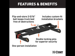 Picture of Curt Double-Lock Gooseneck Hitch/Install Kit - Includes Hitch PN[60611] 30000 lbs. GTW And Install Kit PN[60624]