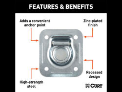 Picture of Curt Recessed Floor/Wall Tie Down - Zinc Finish - 5000 lbs. Capacity - 1/8