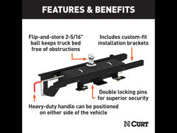 Picture of Curt Double-Lock Gooseneck Hitch/Install Kit - Includes Hitch PN[60607] 30000 lbs. GTW And Install Kit PN[60658]