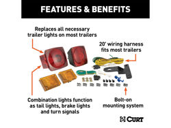 Picture of Curt Trailer Light Kit - Includes 20' Wiring Harness - Metallic Base - Installation Instructions