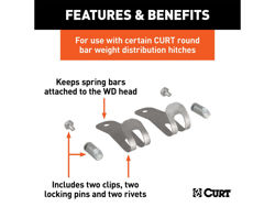 Picture of Curt Weight Distribution Hitch Round Bar Retainer Package - Includes 2 Clips - 2 Locking Pins - 2 Rivets - Replacement