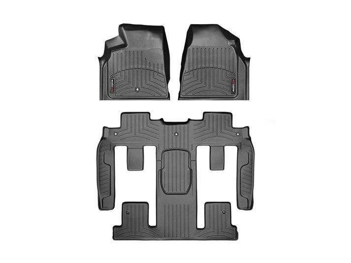 1-Piece 2nd//3rd Row 442511-449423 Black 1st Row WeatherTech Custom Fit FloorLiner