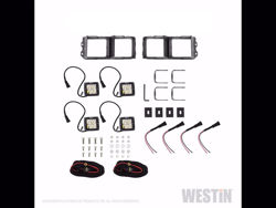 Picture of Westin Outlaw Bumper Light Kit - Square - For Westin Outlaw Front Bumpers - Includes 4 HyperQ LED Lights & 2 Brackets
